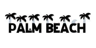 Bannière avec marquer avec des lettres Palm Beach dans le style scandinave Illustration de vecteur Photos libres de droits