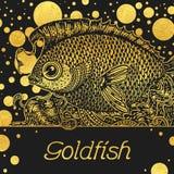 Bannière avec un poisson d'or Image libre de droits