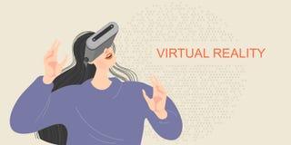 Bannière avec une fille en verres de réalité virtuelle souriant et étirant des mains illustration stock
