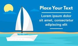 Bannière blanche de concept de yacht d'élite, style plat illustration libre de droits