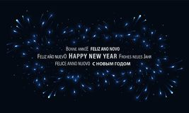 Bannière bleu-foncé de bonne année avec des feux d'artifice et le scintillement Photographie stock