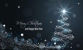 Bannière bleue rougeoyante de Noël et de nouvelle année avec la vague de neige, le scintillement, les étoiles, les flocons de nei illustration stock
