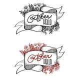 Bannière bonjour octobre calligraphie Images stock