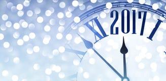 bannière 2017 brillante avec l'horloge illustration stock