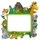 Bannière - cadre - frontière - thème de safari de jungle - illustration pour les enfants Photographie stock libre de droits