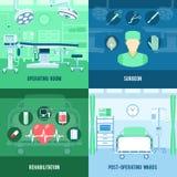 Bannière carrée plate d'icônes de la chirurgie 4 illustration libre de droits