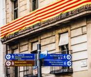 Bannière catalanne sur la La Rambla Photographie stock libre de droits