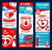 Bannière centrale de donneur de sang avec le coeur et la baisse rouges illustration de vecteur