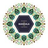 Bannière circulaire avec la conception décorative de mandala élégant illustration stock
