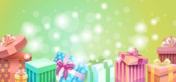 Bannière colorée de boîte-cadeau de présent d'amour de Valentine Day Gift Card Holiday Photos stock