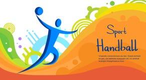 Bannière colorée de compétition sportive de joueur de handball Images libres de droits