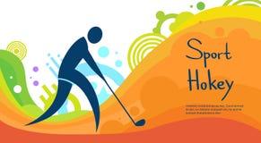 Bannière colorée de compétition sportive de joueur de hockey Image libre de droits
