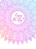 Bannière colorée de mandala de zentangle de vecteur Souhait, félicitations, carte postale Calibre pour imprimer, web design, affi illustration libre de droits