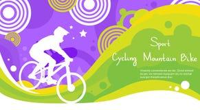 Bannière colorée de recyclage de concurrence de Mountain Bike Sport d'athlète Image libre de droits