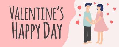Bannière colorée de Saint-Valentin avec les couples et le texte heureux photographie stock libre de droits