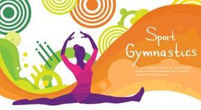 Bannière colorée de Twine Sport Competition d'athlète artistique de gymnastique Illustration de Vecteur