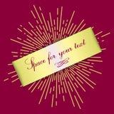 Bannière colorée de vecteur sous forme de bande en vrac pour le texte Rayons d'or chaotiques du soleil à l'arrière-plan calibre p illustration stock