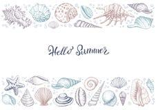 Bannière colorée horizontale de vintage d'été avec des coquillages illustration libre de droits