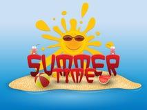 Bannière conceptuelle d'été d'heure d'été avec des éléments de plage sur la plage Photographie stock