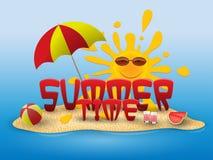 Bannière conceptuelle d'été d'heure d'été avec des éléments de plage sur la plage Image stock