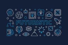 Bannière créative horizontale de vecteur futuriste dans la ligne style mince illustration de vecteur