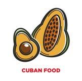 Bannière cubaine de promo de nourriture avec les fruits cultivés sur place illustration libre de droits
