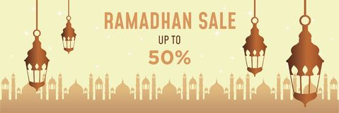 Bannière début de Ramadan illustration de vecteur