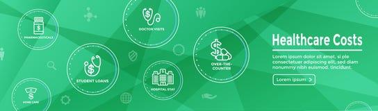 Bannière début réglée de Web d'icône de coûts de soins de santé - dépenses montrant c illustration de vecteur