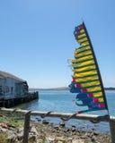 Bannière déchirée en lambeaux sur la plage Photographie stock libre de droits