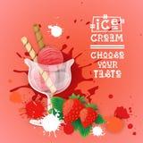 Bannière délicieuse de nourriture de Logo Sweet Beautiful Summer Dessert de crème glacée  Image libre de droits