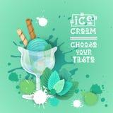 Bannière délicieuse de nourriture de Logo Sweet Beautiful Summer Dessert de crème glacée  Photo libre de droits