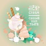 Bannière délicieuse de nourriture de Logo Sweet Beautiful Summer Dessert de crème glacée  Photographie stock