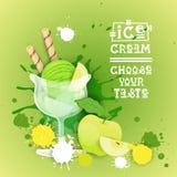 Bannière délicieuse de nourriture de Logo Sweet Beautiful Summer Dessert de crème glacée  Photographie stock libre de droits