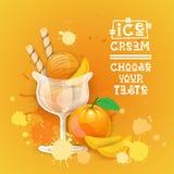 Bannière délicieuse de nourriture de Logo Sweet Beautiful Summer Dessert de crème glacée  Photos stock