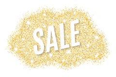 Bannière d'or à vendre des scintillements d'or Tache d'or d'isolement sur le fond blanc Fond pour votre projet Illustration de ve Photographie stock