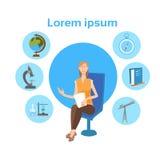 Bannière d'élève d'école d'icônes de Girl University Education d'étudiant avec l'espace de copie illustration stock