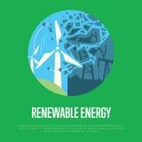 Bannière d'énergie renouvelable Génération d'énergie éolienne Image stock