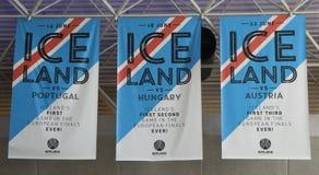 Bannière d'équipe de football de l'Islande dans la mémoire d'euro jeux de la tasse 2016 Photographie stock libre de droits