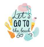 Bannière d'été avec des accessoires de plage Illustration tirée par la main de vecteur illustration de vecteur