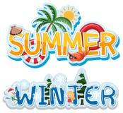 Bannière d'été et d'hiver illustration stock