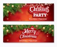 Bannière d'affiche de partie d'invitation de Joyeux Noël et carte de voeux illustration stock