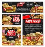 Bannière d'affiche de restaurant de croquis d'aliments de préparation rapide de vecteur Photo stock