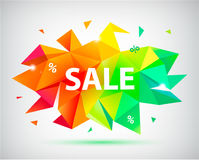 Bannière 3d, affiche facettée par vente de vecteur Illustration colorée Photo libre de droits