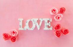 Bannière d'amour avec des roses Image libre de droits