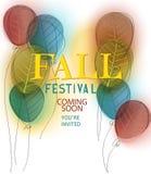 Bannière d'annonce de festival de chute avec des ballons à air de griffonnage avec la texture de feuille illustration libre de droits