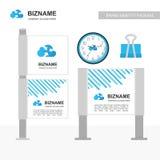 Bannière d'annonce de société avec le vecteur bleu de thème et d'horloge avec le networki illustration stock