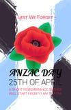 Bannière d'Anzac Day Lest We Forget Affiche de service de souvenir illustration stock