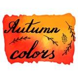 Bannière d'aquarelle d'automne avec le lettrage de main Image libre de droits