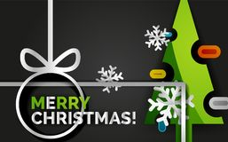 Bannière d'arbre de Noël de nouvelle année, fond noir Image stock