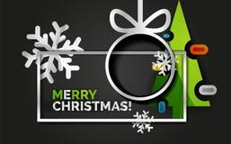 Bannière d'arbre de Noël de nouvelle année, fond noir Photographie stock